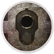 M1911 Muzzle On Rusted Riveted Metal Dark Round Beach Towel