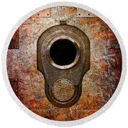 M1911 Muzzle On Rusted Riveted Metal Round Beach Towel