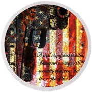 M1911 Pistol And Second Amendment On Rusted American Flag Round Beach Towel