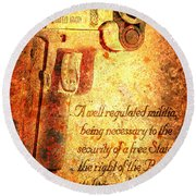 M1911 Pistol And Second Amendment On Rusted Overlay Round Beach Towel
