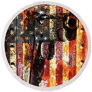 M1911 Silhouette On Rusted American Flag Round Beach Towel