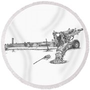 Round Beach Towel featuring the drawing M198 Howitzer - Standard Size Prints by Betsy Hackett