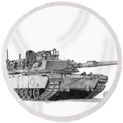 M1a1 Battalion Commander Tank Round Beach Towel