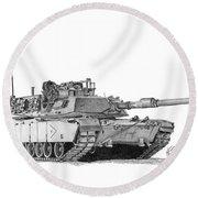 M1a1 B Company Xo Tank Round Beach Towel