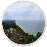 M22 Scenic Lake Michigan Overlook  Round Beach Towel