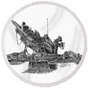Round Beach Towel featuring the drawing M777a1 Howitzer by Betsy Hackett