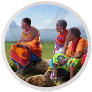 Maasai Women Round Beach Towel by Anthony Mwangi