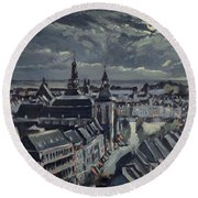 Maastricht By Moon Light Round Beach Towel