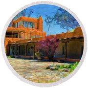 Mabel's Courtyard As Oil Round Beach Towel