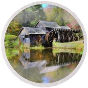Round Beach Towel featuring the digital art Mabry Grist Mill by Sharon Batdorf