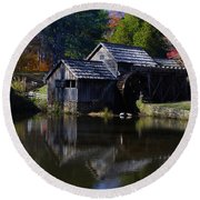 Mabrys Mill On The Blue Ridge Round Beach Towel by B Wayne Mullins