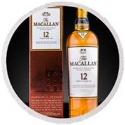 Macallan Single Malt Whisky Round Beach Towel by Mihai Andritoiu