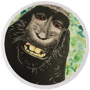 Macaque Monkey Round Beach Towel