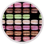 Round Beach Towel featuring the photograph Macarons - One Missing by Nikolyn McDonald