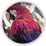 Round Beach Towel featuring the digital art Macaw by David Mckinney