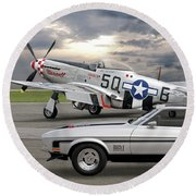 Mach 1 Mustang With P51  Round Beach Towel
