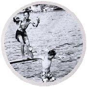 Round Beach Towel featuring the photograph Macho Boys by Jez C Self