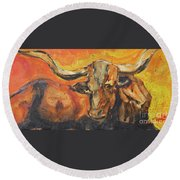 Macho Longhorn Round Beach Towel by Ron Stephens