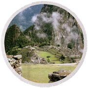 Machu Picchu In The Morning Light Round Beach Towel