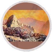 Round Beach Towel featuring the painting Machu Picchu Sunset by Ryan Fox