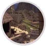 Machu Picchu Round Beach Towel