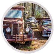 Mack Truck And Plymouth Round Beach Towel