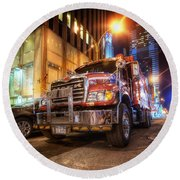 Mack Truck Nyc Round Beach Towel by Yhun Suarez