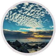 Mackerel Sky Round Beach Towel