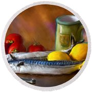 Mackerels, Lemons And Tomatoes Round Beach Towel
