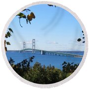Mackinac Bridge In Early Fall Round Beach Towel