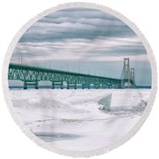 Round Beach Towel featuring the photograph Mackinac Bridge In Winter During Day by John McGraw