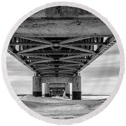 Round Beach Towel featuring the photograph Mackinac Bridge In Winter Underneath  by John McGraw