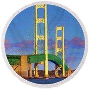 Round Beach Towel featuring the photograph Mackinac Bridge by Trey Foerster