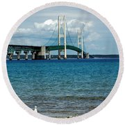 Round Beach Towel featuring the photograph Mackinac Bridge With Seagull by LeeAnn McLaneGoetz McLaneGoetzStudioLLCcom