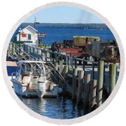 Mackinac Island Coal Dock Round Beach Towel