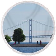 Mackinac Island Panorama With The Mighty Mac Round Beach Towel