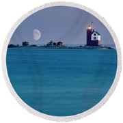 Mackinac Moon Round Beach Towel