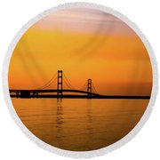Mackinaw Sunset  Round Beach Towel