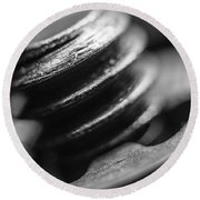 Round Beach Towel featuring the photograph Macro Screw Bolt Black White by David Haskett