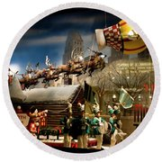 Round Beach Towel featuring the photograph Macy's Miracle On 34th Street Christmas Window by Lorraine Devon Wilke
