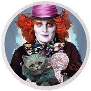 Mad Hatter And Cheshire Cat Round Beach Towel