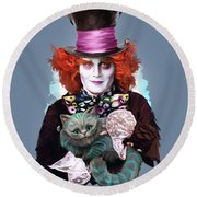 Mad Hatter And Cheshire Cat Round Beach Towel by Melanie D