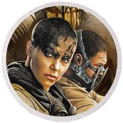 Round Beach Towel featuring the painting Mad Max Fury Road Artwork by Sheraz A