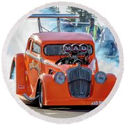 Round Beach Towel featuring the photograph Mad Mike Racing by Bill Gallagher