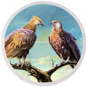 Madagascar Fish Eagle  Round Beach Towel by Anthony Mwangi