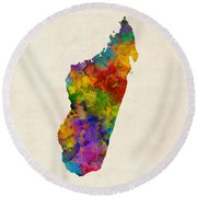 Round Beach Towel featuring the digital art Madagascar Watercolor Map by Michael Tompsett