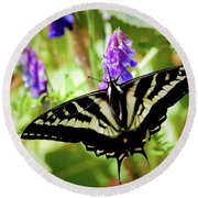 Madam Butterfly Round Beach Towel