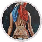 Madame Eiffel Round Beach Towel