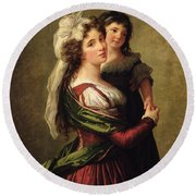 Madame Rousseau And Her Daughter Round Beach Towel