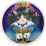 Madame Zoe Teller Of Fortunes - Queen Of Cups Round Beach Towel